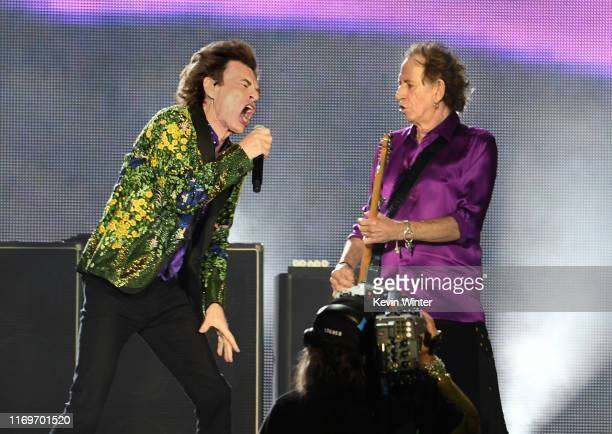 Mick Jagger and Keith Richards of The Rolling Stones perform onstage at Rose Bowl on August 22 2019 in Pasadena California