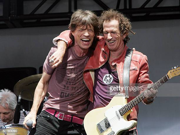 Mick Jagger and Keith Richards of The Rolling Stones perform onstage to announce a world tour at the Julliard Music School May 10 2005 in New York...
