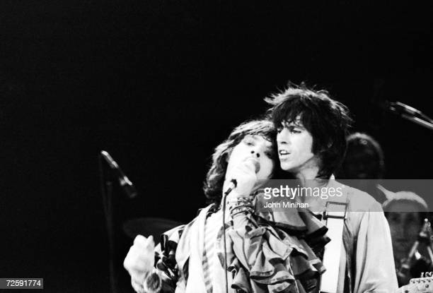 Mick Jagger and Keith Richards of the Rolling Stones performing at Earl's Court London 25th May 1976