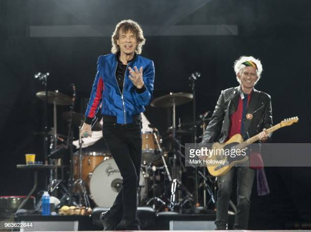 Mick Jagger and Keith Richards of The Rolling Stones performing live on stage at St Mary's Stadium on May 29 2018 in Southampton England