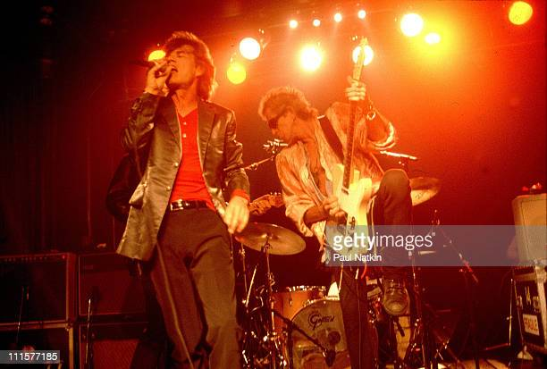 Mick Jagger and Keith Richards of the Rolling Stones playing the Double Door before the Bridges to Babylon Tour in 1997 in Chicago Il
