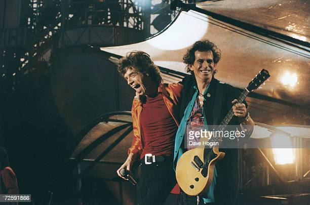 Mick Jagger and Keith Richards of the Rolling Stones take an encore circa 1990