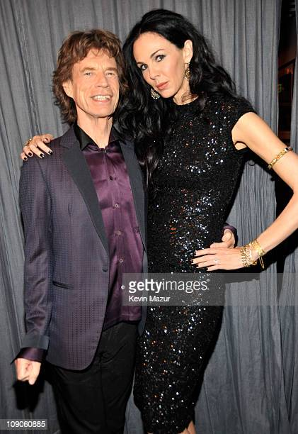 Mick Jagger and L'Wren Scott wearing L'Wren Scott attends The 53rd Annual GRAMMY Awards held at Staples Center on February 13 2011 in Los Angeles...