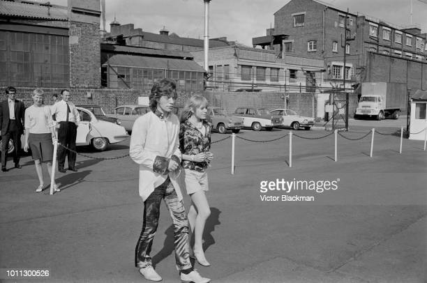 Mick Jagger and Marianne Faithfull arrive at Battersea Heliport in London 1st August 1967 They are flying to Ongar in Essex where Jagger is to record...