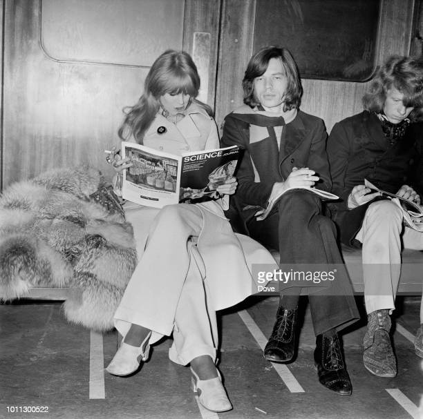 Mick Jagger and Marianne Faithfull at London Airport 13th April 1968