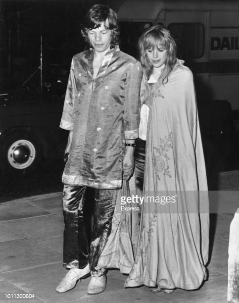 Mick Jagger and Marianne Faithfull returning to Jagger's flat after a late supper London 1st Augst 1967
