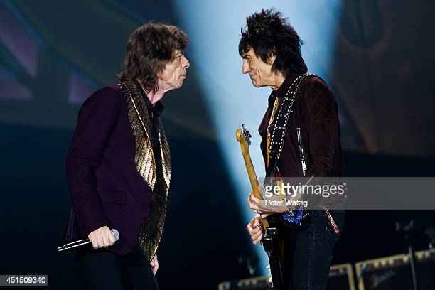 Mick Jagger and Ron Wood of the british rock band 'The Rolling Stones' perform at EspritArena on June 19 2014 in Duesseldorf Germany
