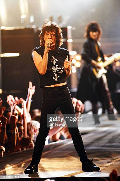 Mick Jagger and Ron Wood of the Rolling Stones during 1994 MTV Video Music Awards at Radio City Music Hall in New York City New York United States