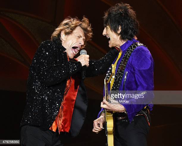 Mick Jagger and Ronnie Wood of The Rolling Stones perform at Carter Finley Stadium on July 1 2015 in Raleigh North Carolina