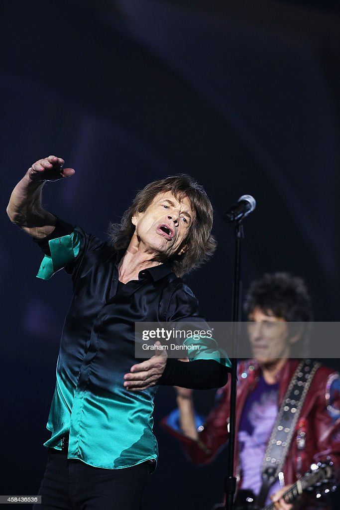 Mick Jagger (L) and Ronnie Wood of The Rolling Stones perform live at Rod Laver Arena on November 5, 2014 in Melbourne, Australia.