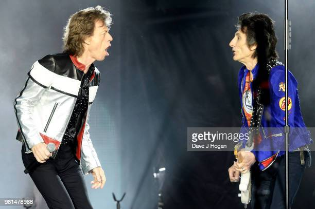 Mick Jagger and Ronnie Wood of The Rolling Stones perform live on stage during the 'No Filter' tour at London Stadium on May 22 2018 in London England