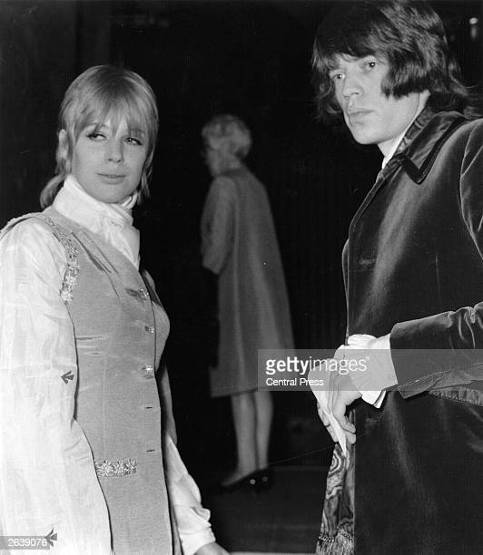 Mick Jagger and singer Marianne Faithfull arrive for the premiere of the new film '2001 A Space Odyssey' at the Casino Cinerama London