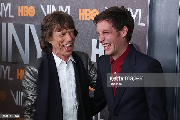 Mick Jagger and son James Jagger attend the New York Premiere of 'Vinyl' at Ziegfeld Theatre on January 15 2016 in New York City