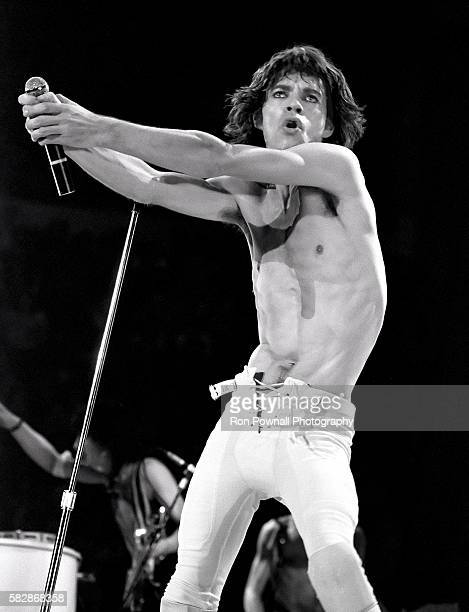 Mick Jagger and The Rolling Stones performing at the Hartford Civic Center Nov 9 1981