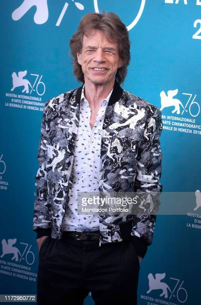 """Mick Jagger attend a photocall for the film """"The Burnt Orange Heresy"""" presented out of competition on September 7, 2019 during the 76th Venice Film..."""