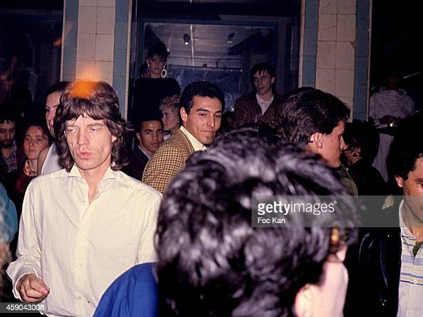 Mick Jagger attends a party at Les Bains Douches in 1983 in Paris France