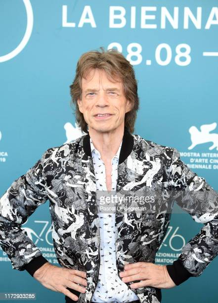"""Mick Jagger attends """"The Burnt Orange Heresy"""" photocall during the 76th Venice Film Festival at Sala Grande on September 07, 2019 in Venice, Italy."""
