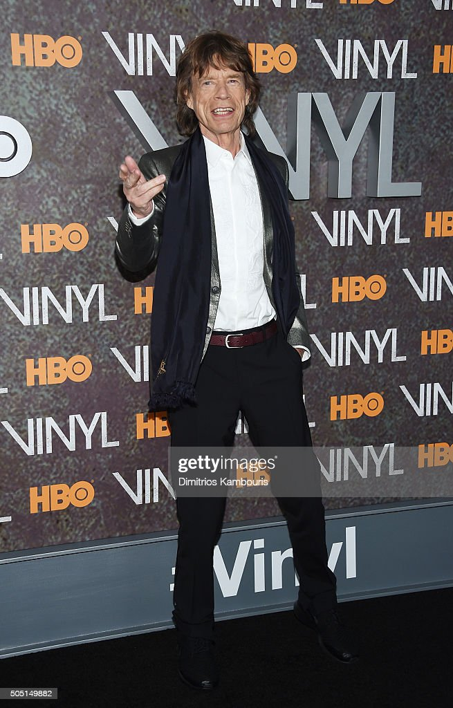 Mick Jagger attends the New York premiere of 'Vinyl' at Ziegfeld Theatre on January 15, 2016 in New York City.