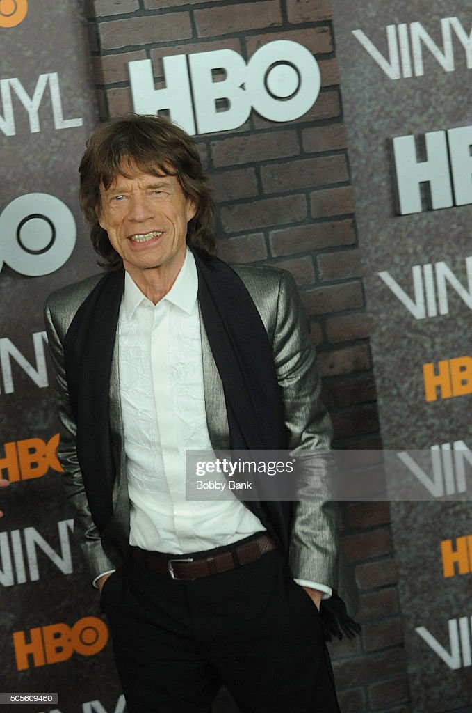 Mick Jagger attends the 'Vinyl' New York Premiere at Ziegfeld Theatre on January 15, 2016 in New York City.
