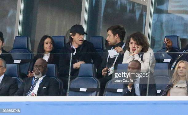 Mick Jagger between his girlfriend Melanie Hamrick and his two sons James Jagger and Lucas Jagger attends the 2018 FIFA World Cup Russia Semi Final...