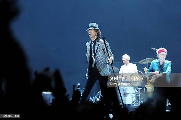 Mick Jagger Charlie Watts and Keith Richards of the Rolling Stones perform at 02 Arena on November 25 2012 in London England