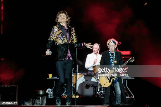 Mick Jagger Charlie Watts and Keith Richards of The Rolling Stones perform on stage during Lucca Summer Festival 2017 on September 23 2017 in Lucca...