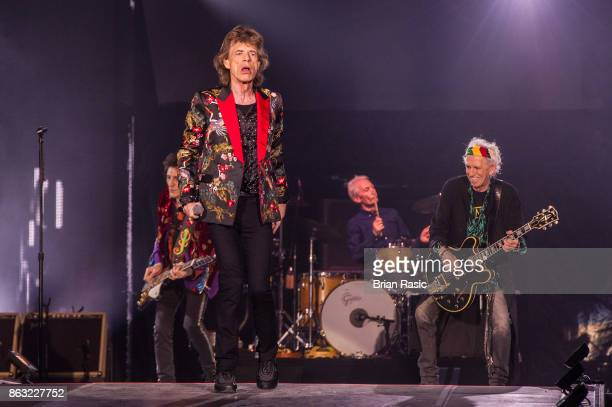 Mick Jagger Charlie Watts and Keith Richards of The Rolling Stones perform live on stage at U Arena on October 19 2017 in Nanterre France