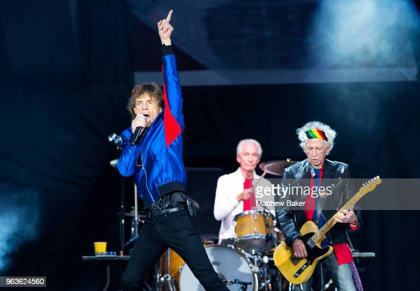 Mick Jagger Charlie Watts and Keith Richards of the Rolling Stones perform live on stage at St Mary's Stadium on May 29 2018 in Southampton England