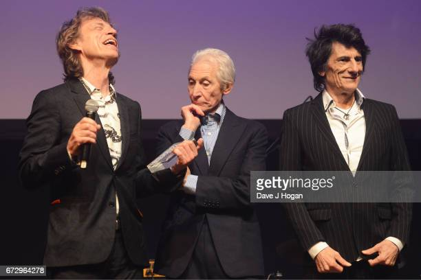 Mick Jagger Charlie Watts and Ronnie Wood of The Rolling Stones win Album Of The Year Public Vote for their album 'Blue Lonesome' at the Jazz FM...