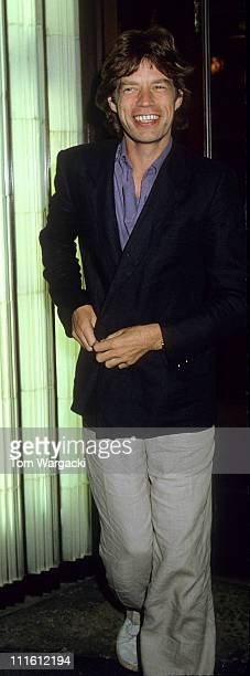 Mick Jagger during Mick Jagger Jerry Hall at Langan's Brasserie at Langan's Brasserie in London Great Britain