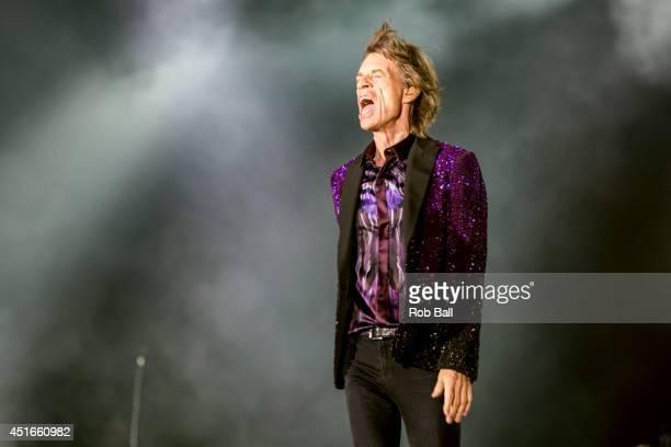 Mick Jagger from the Rolling Stones headlines the Roskilde Festival 2014 on July 3 2014 in Roskilde Denmark