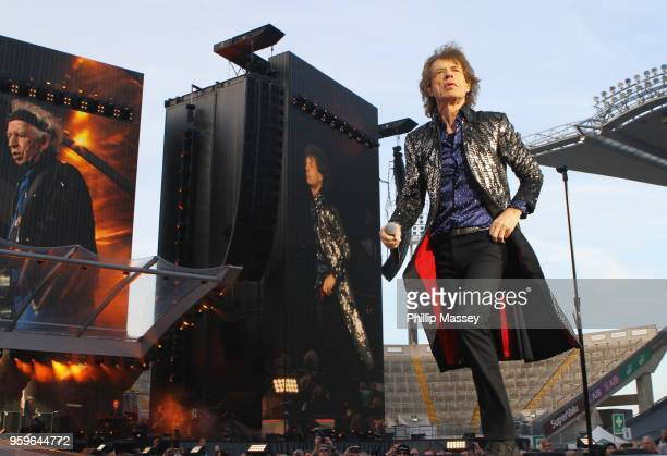 Mick Jagger from The Rolling Stones performs live on stage at Croke Park on May 17, 2018 in Dublin, Ireland.