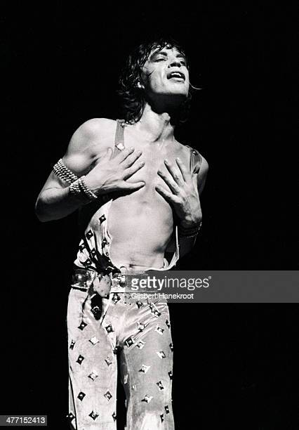 Mick Jagger from The Rolling Stones performs live on stage at the Sportshalle in Cologne Germany on 2nd June 1976 as part of their Tour of Europe '76