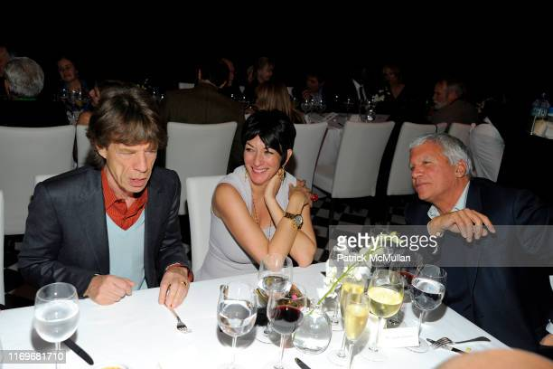 Mick Jagger Ghislaine Maxwell and Larry Gagosian attend Ed Ruscha PSYCHO SPAGHETTI WESTERNS Opening Dinner at Mr Chow on February 24 2011 in Beverly...