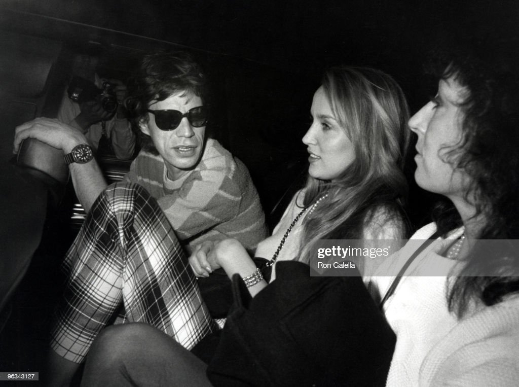 Mick Jagger, Jerry Hall and Anjelica Huston
