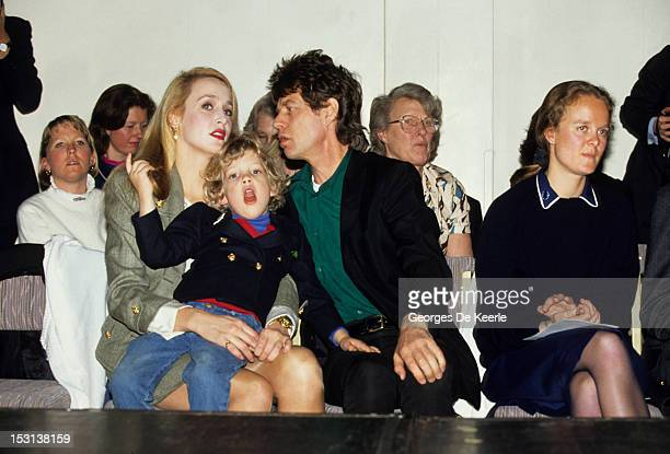 Mick Jagger Jerry Hall and their son James on 1990 circa