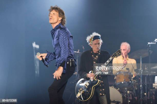 Mick Jagger Keith Richards and Charlie Watts of The Rolling Stones perform on stage at Estadi Olimpic on September 27 2017 in Barcelona Spain