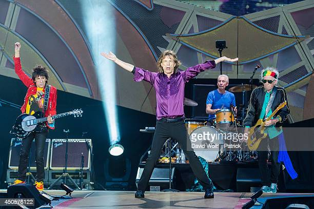 Mick Jagger Keith Richards Charlie Watts and Ron Wood from the Rolling Stones perform at Stade de France on June 13 2014 in Paris France