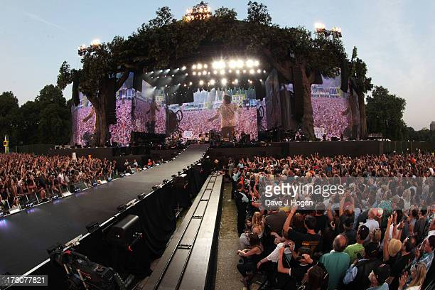 Mick Jagger, Keith Richards, Ronnie Wood and Charlie Watts of The Rolling Stones perform live on stage during day two of British Summer Time Hyde...