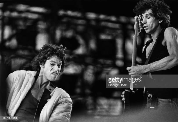 Mick Jagger, lead singer of the British rock band The Rolling Stones, and guitarist Keith Richards perform in front of 100,000 people during a 1981...