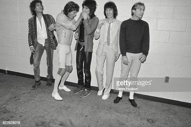 Mick Jagger lead singer of the British rock group the Rolling Stones along with other members of the group Keith Richards Bill Wyman Ronnie Wood and...