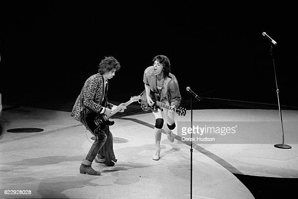 Mick Jagger lead singer of the British rock group the Rolling Stones on stage with Keith Richards during the 1981 concert in the city of Philadelphia...