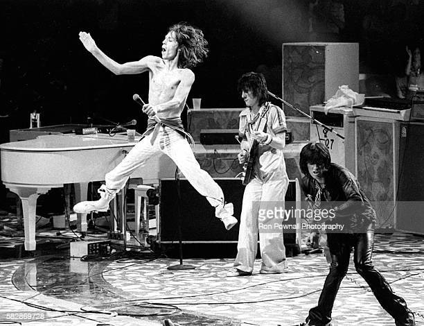 Mick Jagger leaping as Rolling Stones performat Madison Square Garden NYC June 24 1975 Mick Jagger Ronnie Wood Keith Richard