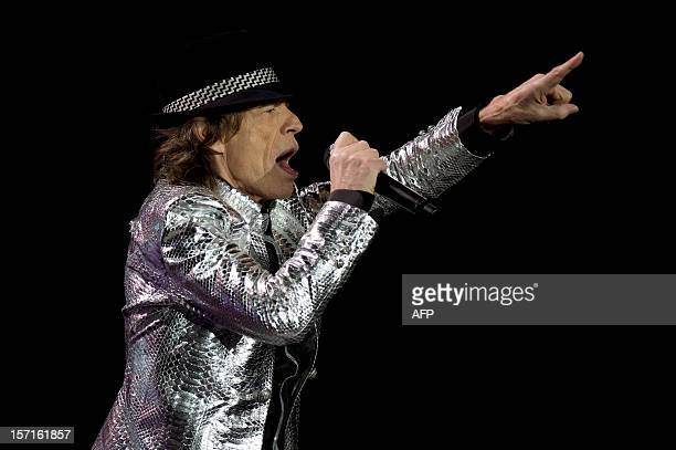 Mick Jagger of British rock band The Rolling Stones performs live in concert in London on November 29 2012 The concert was part of a five date tour...