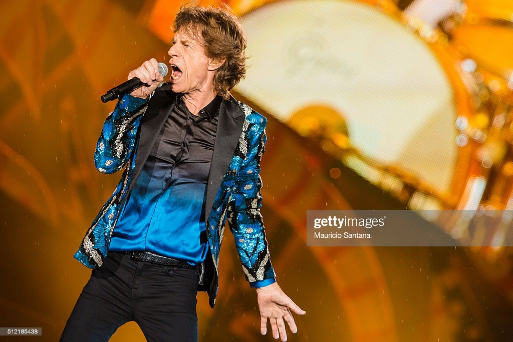 Mick Jagger of the band Rolling Stones performs live on stage at Morumbi Stadium on February 24, 2016 in Sao Paulo, Brazil.