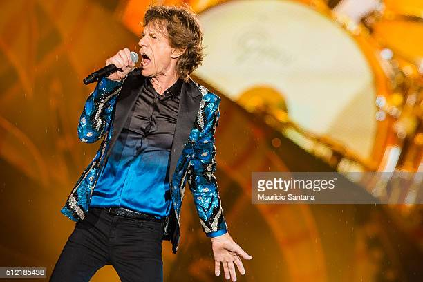 Mick Jagger of the band Rolling Stones performs live on stage at Morumbi Stadium on February 24 2016 in Sao Paulo Brazil