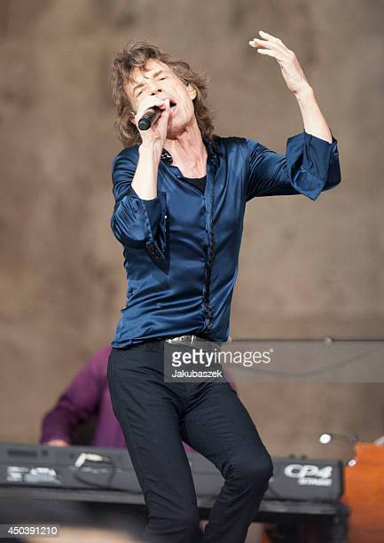 Mick Jagger of the British band The Rolling Stones performs live during a concert at the Waldbuehne on June 10 2014 in Berlin Germany