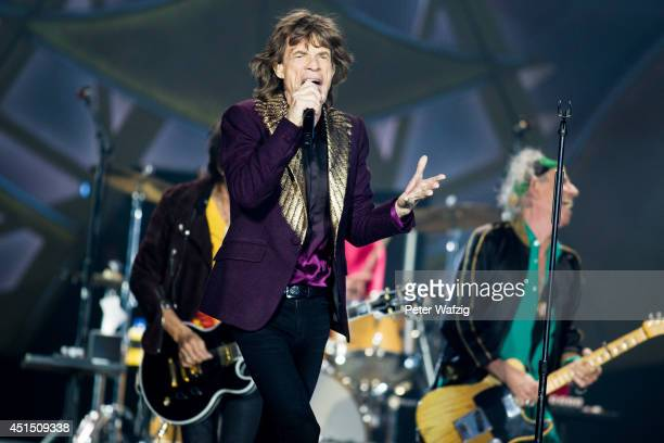 Mick Jagger of the british rock band 'The Rolling Stones' performs at EspritArena on June 19 2014 in Duesseldorf Germany