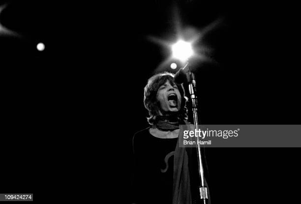 Mick Jagger of the rock band 'The Rolling Stones' performs on stage at Madison Square Garden during their Storm America tour November 27 1969
