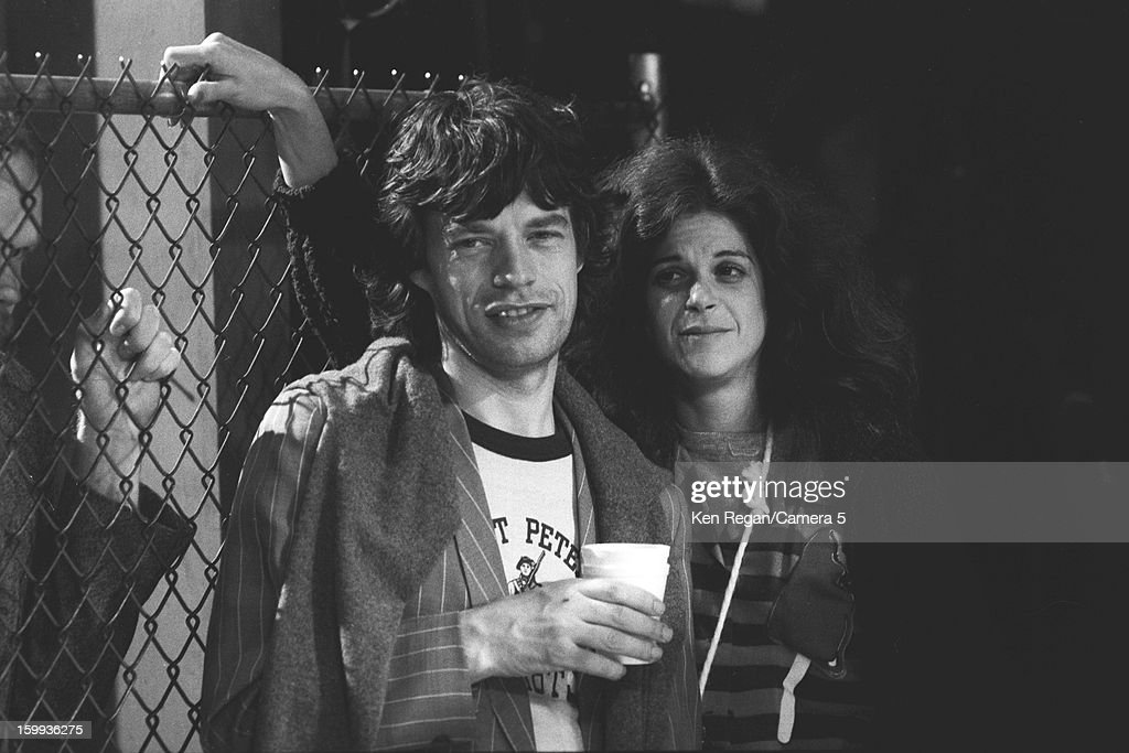 Mick Jagger of the Rolling Stones and comedian Gilda Radner are photographed on the set of Saturday Night Live on October 7, 1978 in New York City.